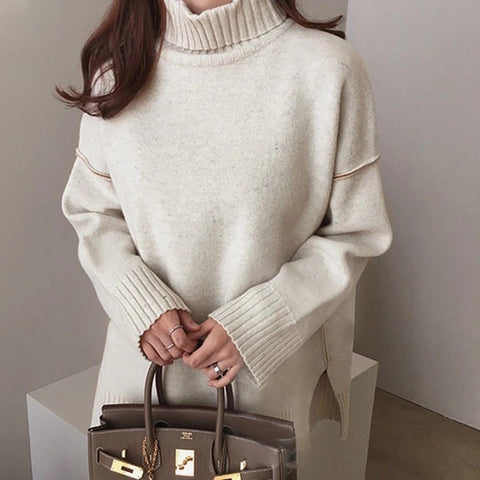 Casual Pure Color High Neck Slit Sweater