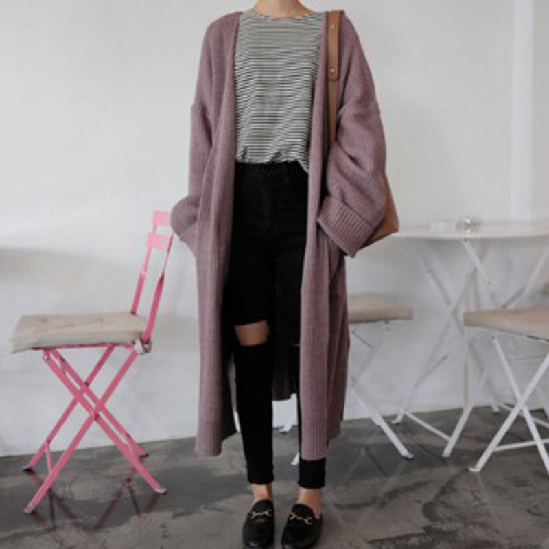 Fashion solid color long knit cardigan