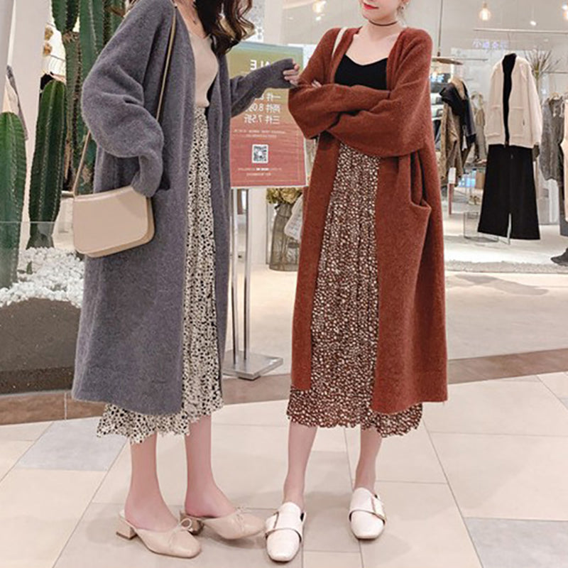 Casual Japanese and Korean style solid color loose knit cardigan