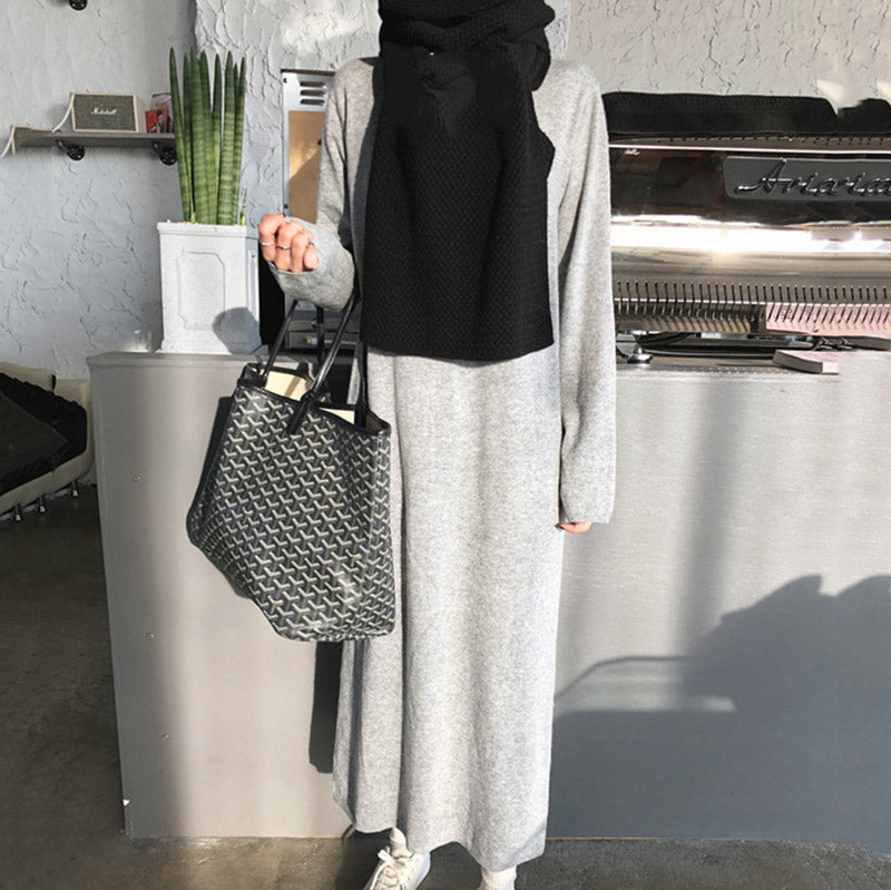 Solid Color Knit Long Dress