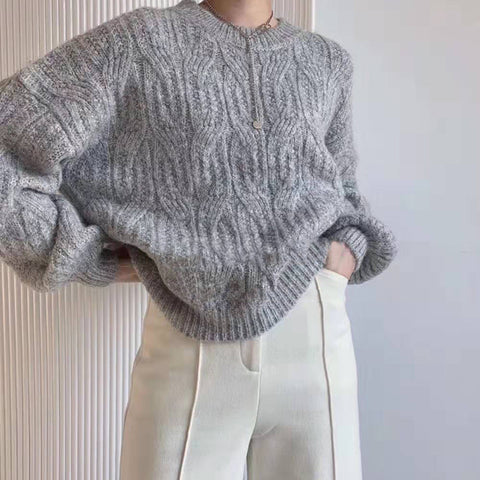 Womens Casual Round Neck Loose Sweater