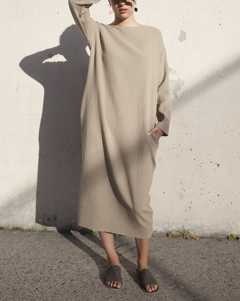 Casual Long Sleeved Pure Color Loose Dress