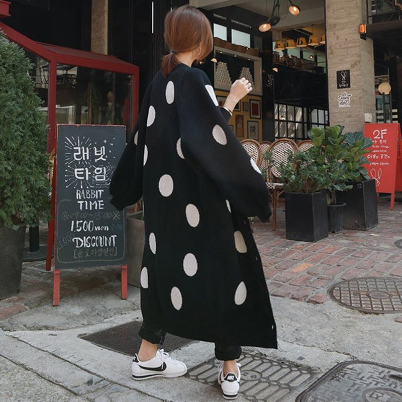 Fashion Casual Dot Printed Knitted Sweater