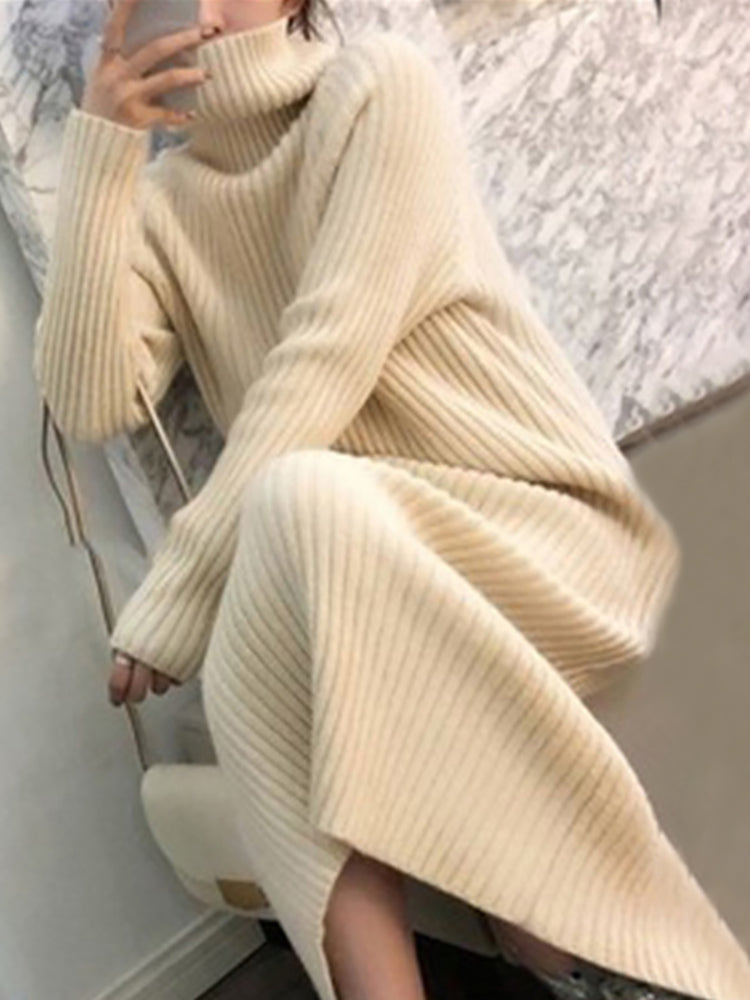 Japan and Korea Style High Neck Pure Color Sweater