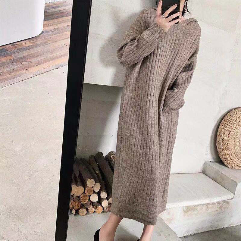 Japan and Korea Style Hooded Pure Color Sweater