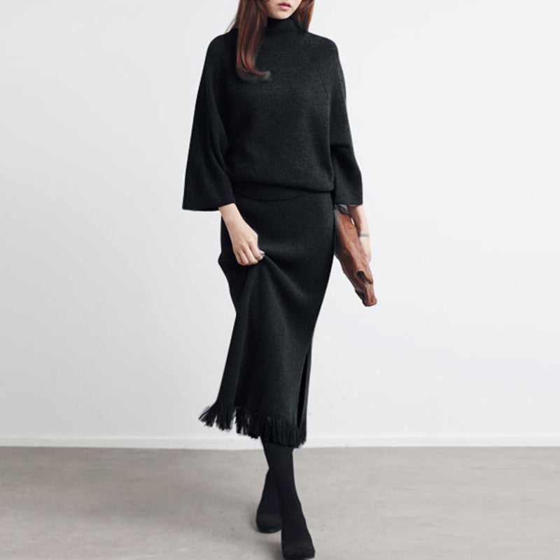 Casual Pure Color Knitted Sweater Blouse With Skirt Two Piece Suit