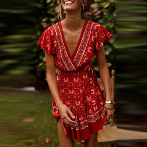 Sweet Deep V Collar Floral Printed Defined Waist Mini Vacation Dress