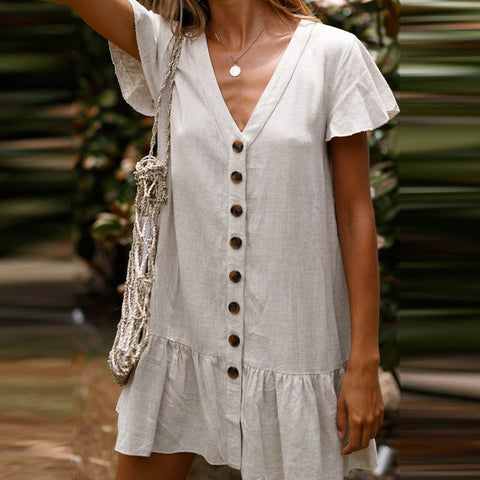 Single-Breasted Deep V-Neck Cotton And Linen Dress