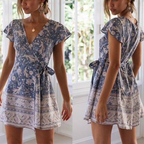 Sweet V Collar Floral Printed Belted Vacation Dress