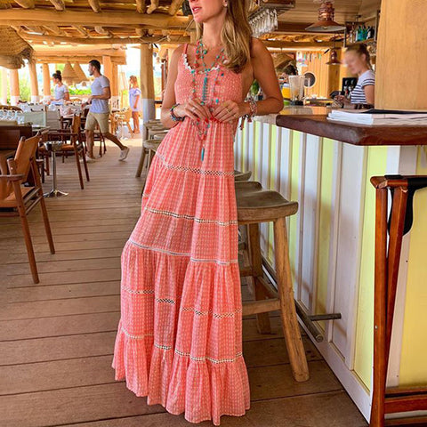 Sweet Printed Floor-Length Sling Maxi Dress