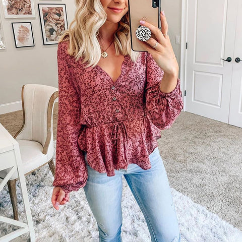 Women's Sweet Deep V-Neck Long Sleeve Ruffled Belted Blouse