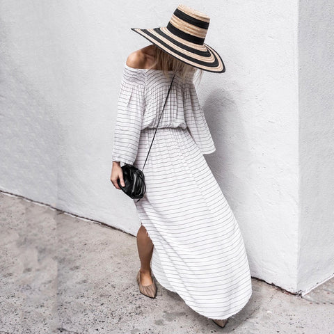 Casual Word Collar Loose Long Sleeve Striped Side Slit Dress