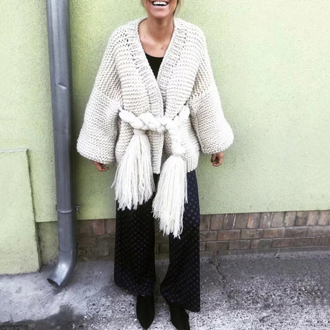 Casual Loose Belted Tassel Long Lantern Sleeves Sweater Coat
