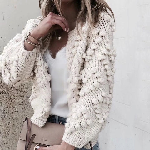 Casual Loose Rounf Neck Long Sleeves With Balls Sweater