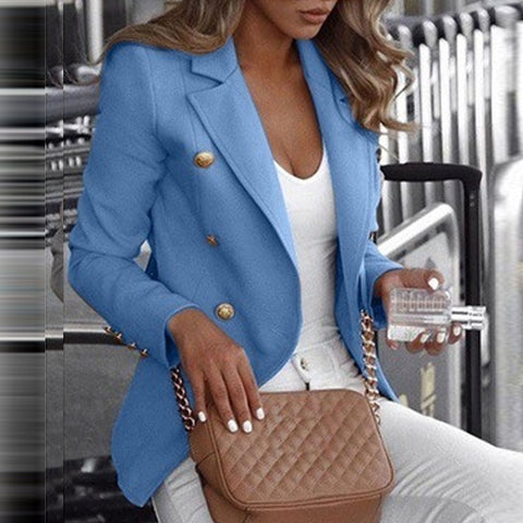 Casual Standing Collar Long Sleeve Solid Collar Suit