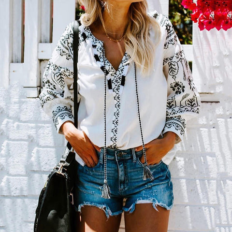 Women's Fashion V-Neck Printed Color Long Sleeve Drawstring Blouse