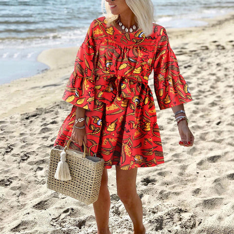 Casual Printed Round Neck Flounce Dress