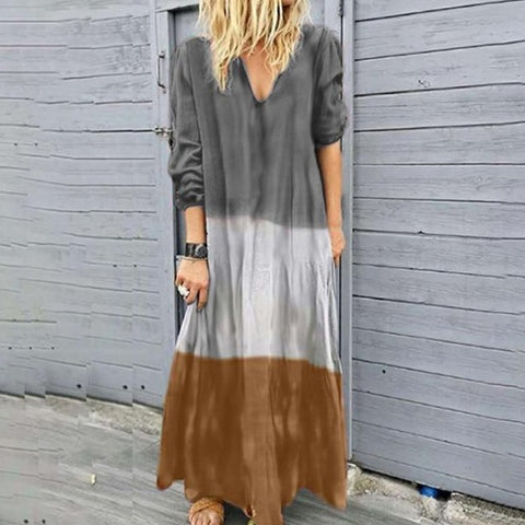Casual V Neck Long Sleeve Gradient Dress