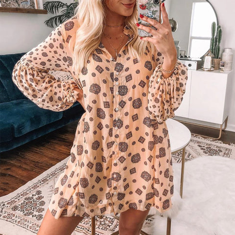 Casual Printed Fold-Over Collar Dress