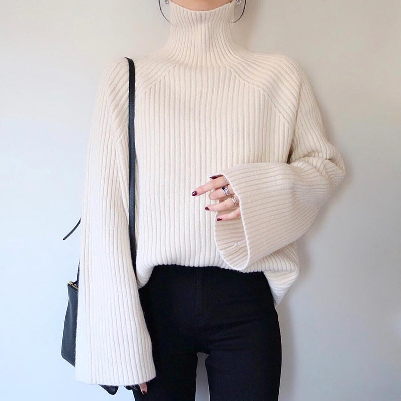Solid Color Turtleneck Sleeve Sweater