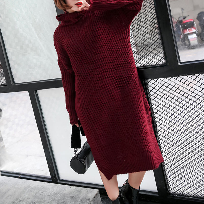 Casual loose heap collar long sleeves sweater dress