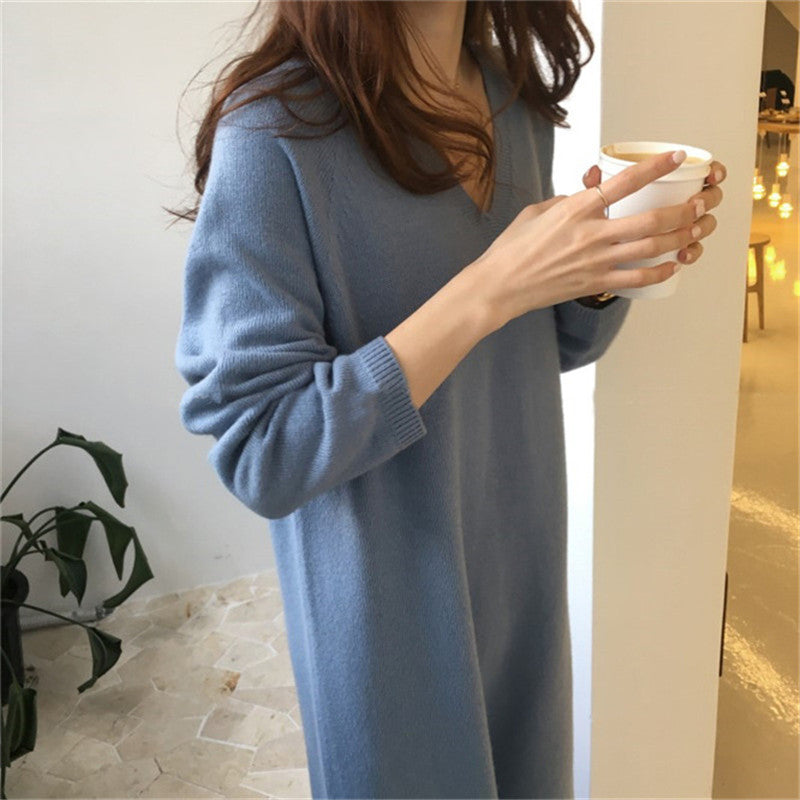 Japan and Korea Style V Neck Pure Color Sweater