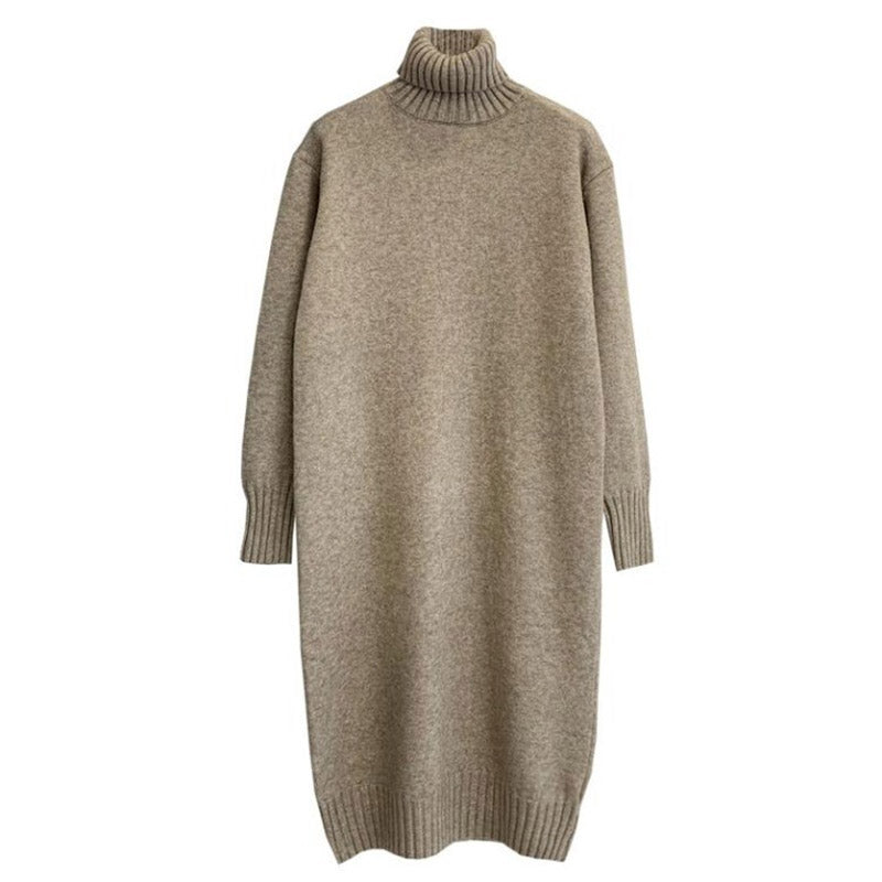 Thick high-necked pullover knit dress