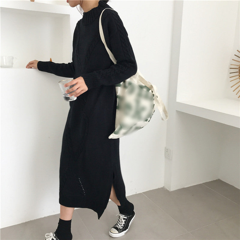 Brief long knit sweater long sleeve dress