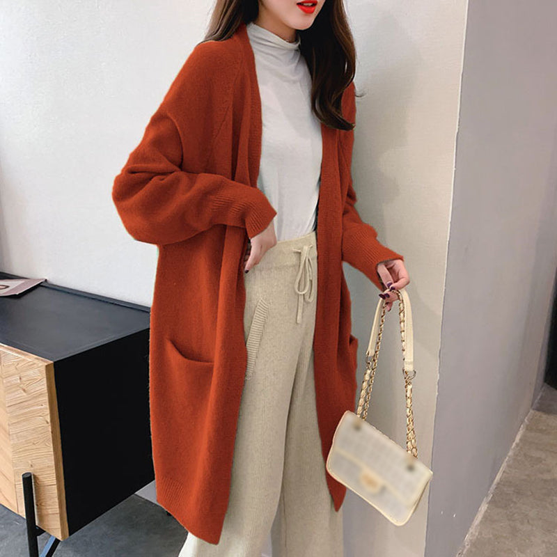 Cute loose medium and long student cardigan