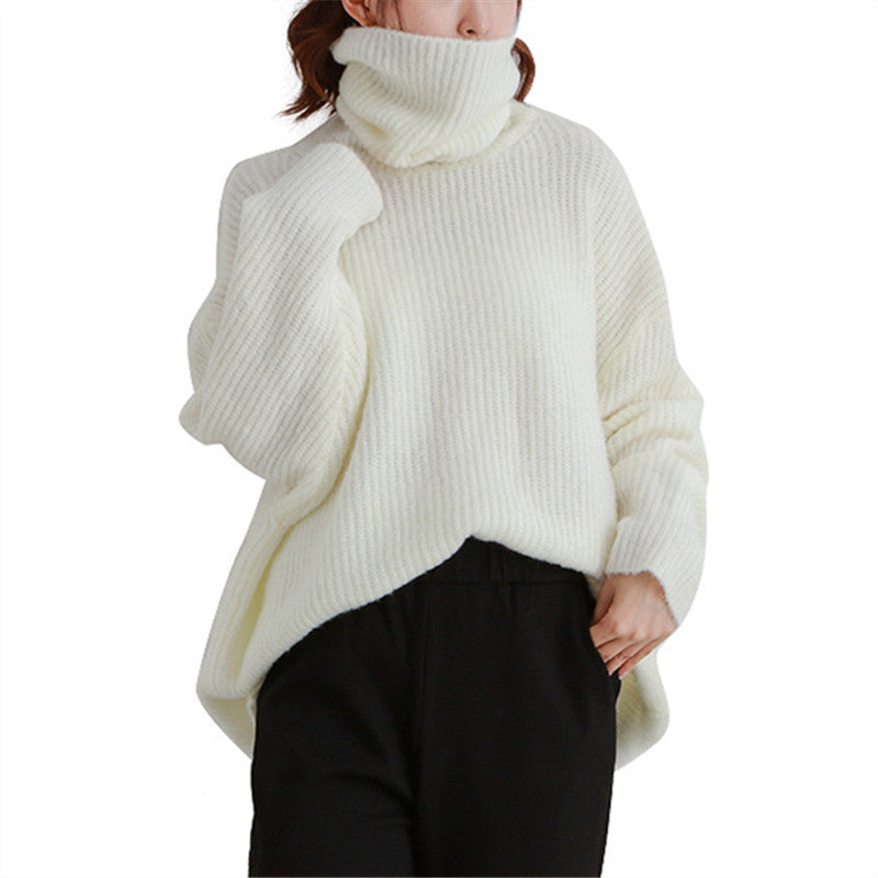 Solid Color Loose Turtleneck Sweater
