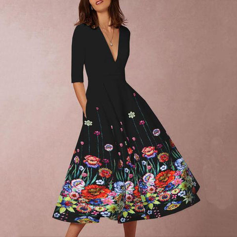 Deep V-Neck  Floral Printed Skater Dress