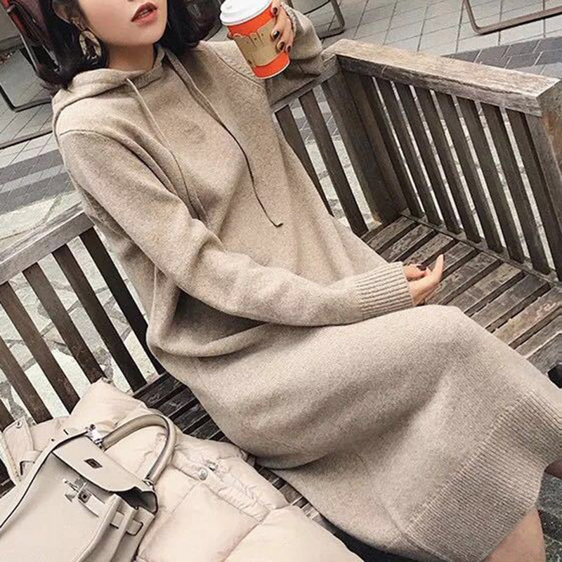 Women's casual pure color hooded long-sleeved sweater