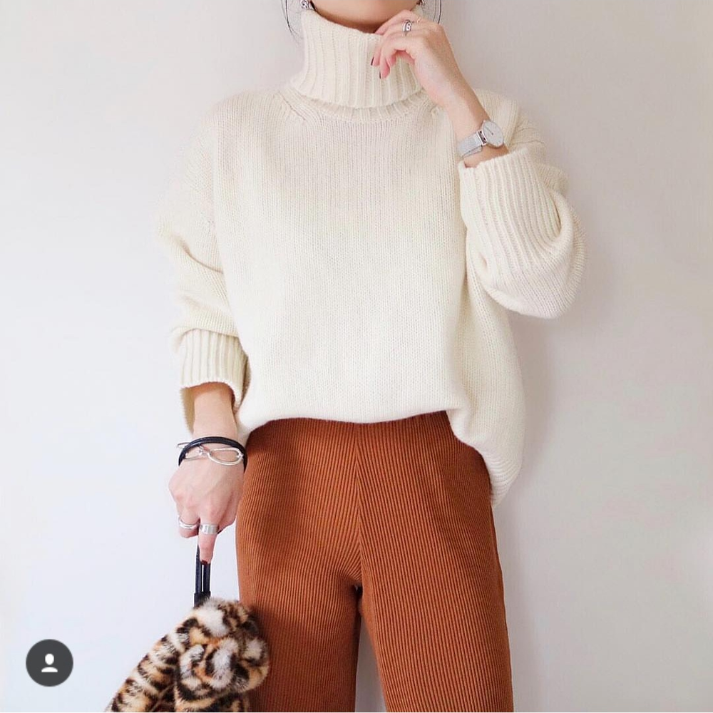 Women's Casual High Collar Long Sleeve Pure Color Sweater