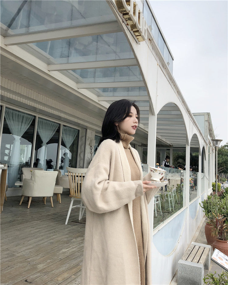 Fashion solid color stitching loose knit cardigan