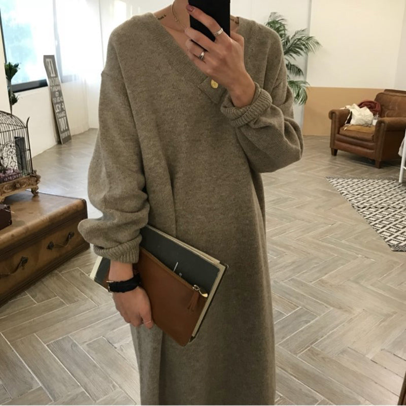 Women's fashion long knit dress