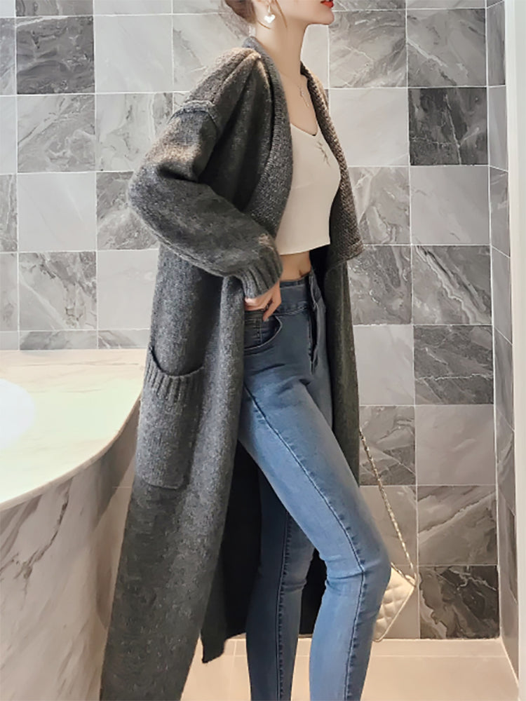 Fashion Solid Color Large Pocket Sweater Cardigan