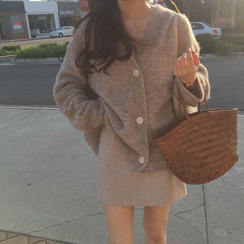 Fashion lazy wind loose v-neck mohair knit cardigan