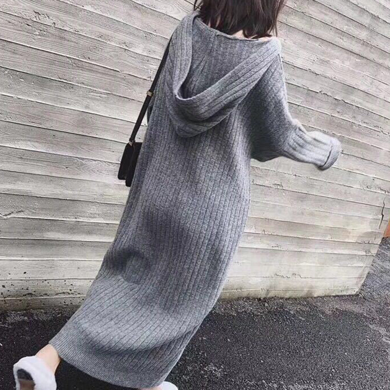 Women's Casual Hooded Loose Lazy Wind Slim Korean version Knit Dress