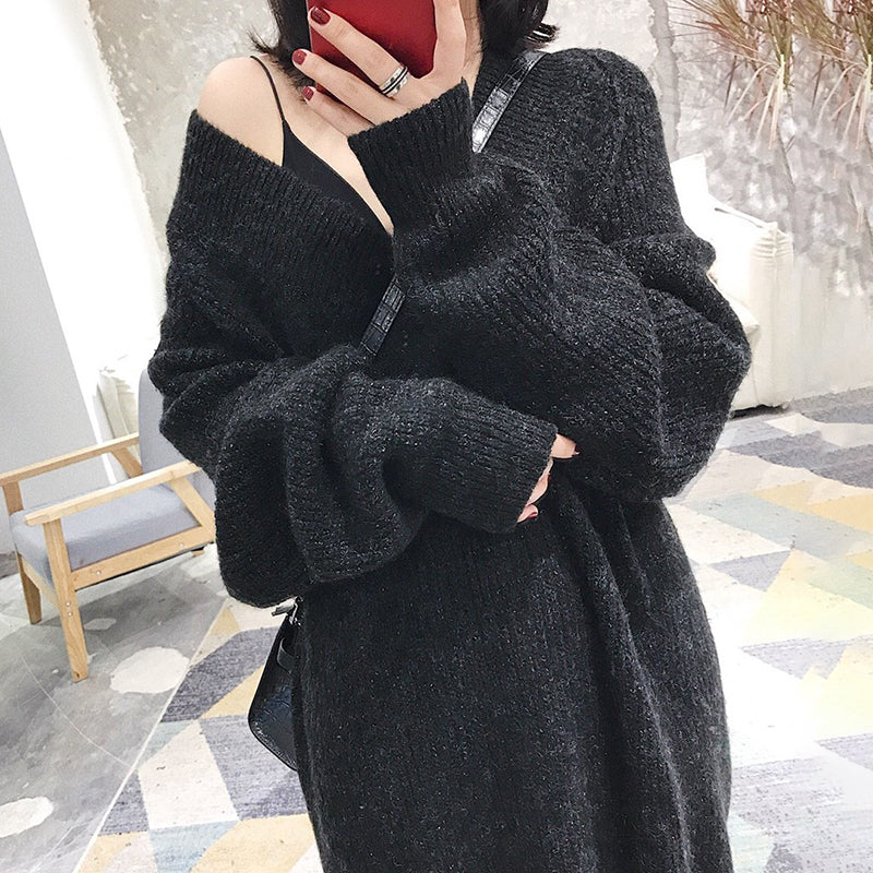 Women's Casual V-Neck Shoulder Sleeve Knit Midi Korean version Dress