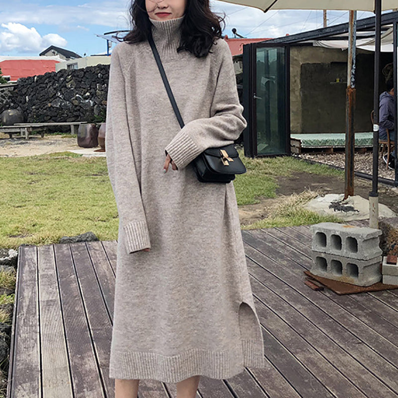 Japanese And Korean Solid Color High Collar Long Sleeve Knit Dress
