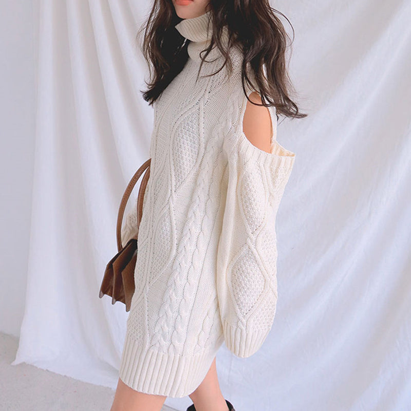 Fashion solid color long-sleeved sweater