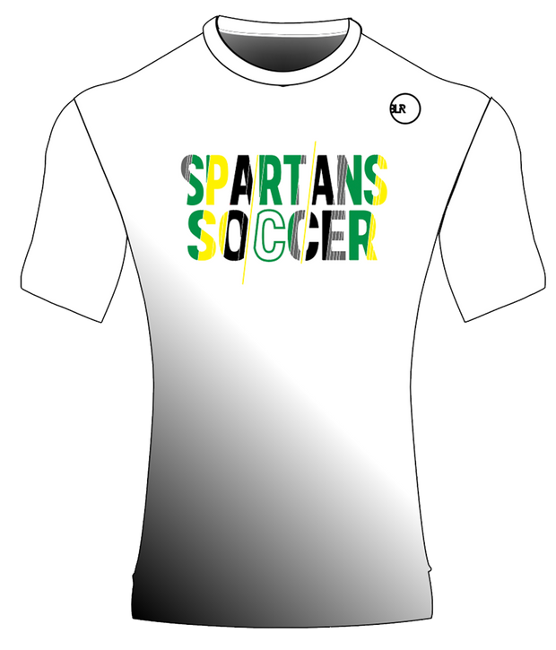 SPARTANS POLYESTER PERFORMANCE TEE (WHITE/BLACK GRADIENT)