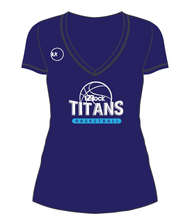 WOMENS TITANS V NECK TEE (NAVY)