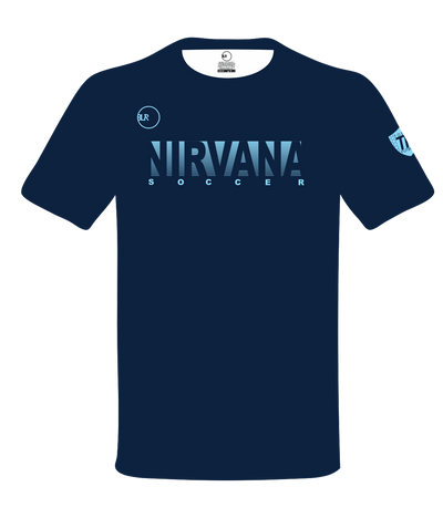 NIRVANA SOCCER COTTON TEE (NAVY/CAROLINA BLUE)