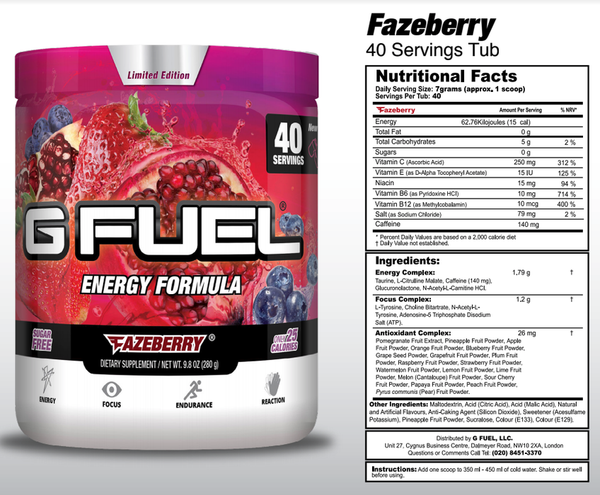 G Fuel FaZeberry Tub - 40 Servings