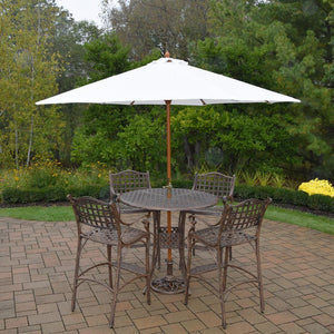 Elite 7 Piece Aluminum Outdoor Bar Height Dining Set With White