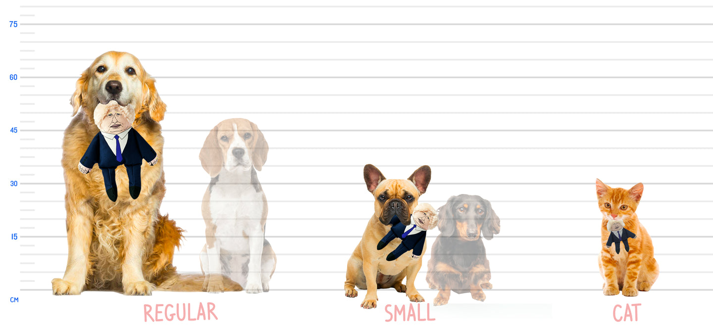 Graphic showing the relative size of the toys - a labrador holds a regular, a French Bulldog holds a small toy and a cat holds an even smaller version as a cat toy