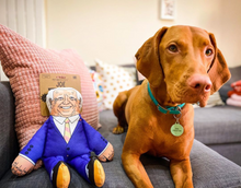 Load image into Gallery viewer, Joe Biden dog toy sat with dog