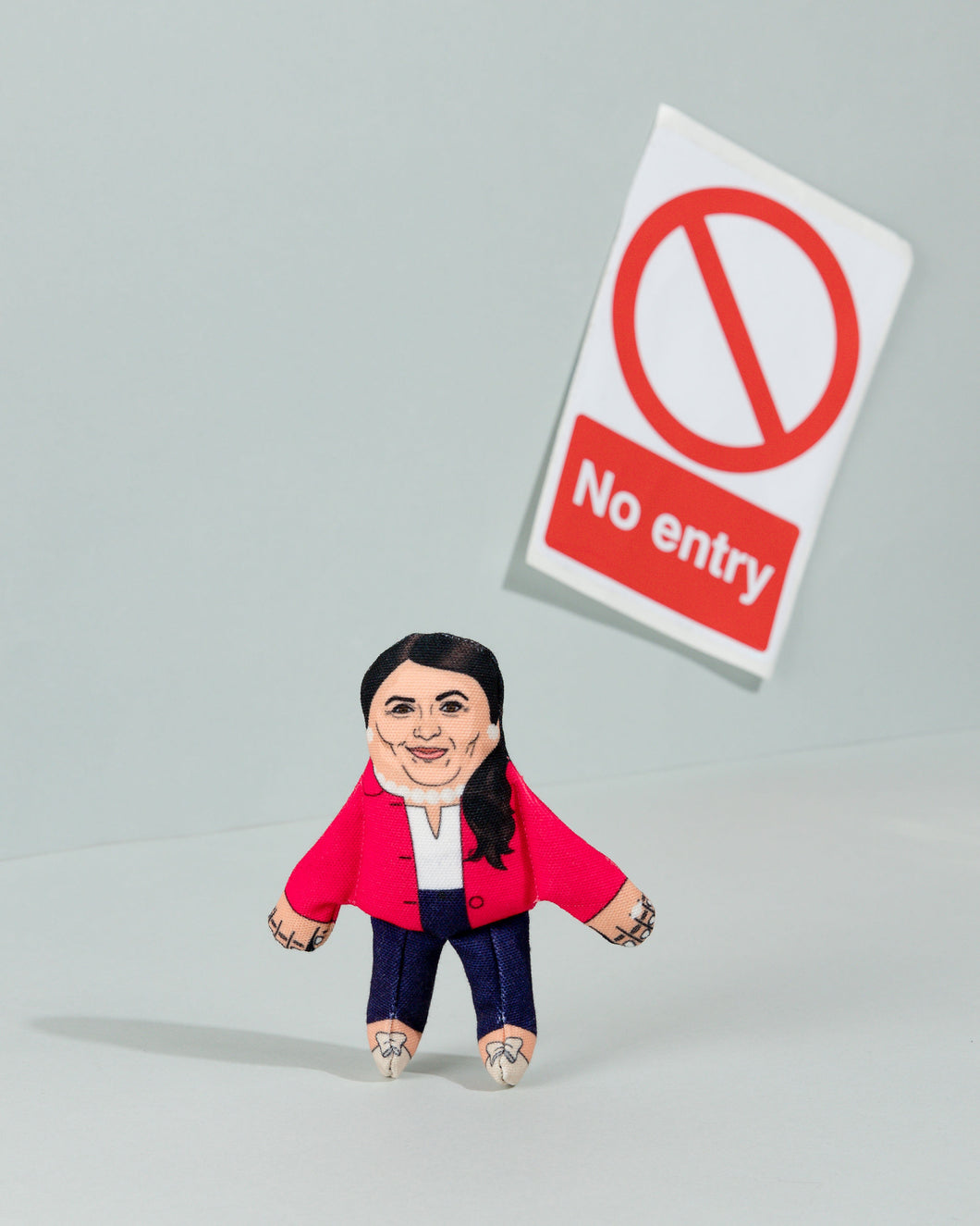 Priti Patel cat toy with no entry sign