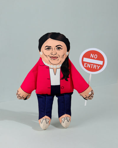 Priti Patel dog toy with no entry sign